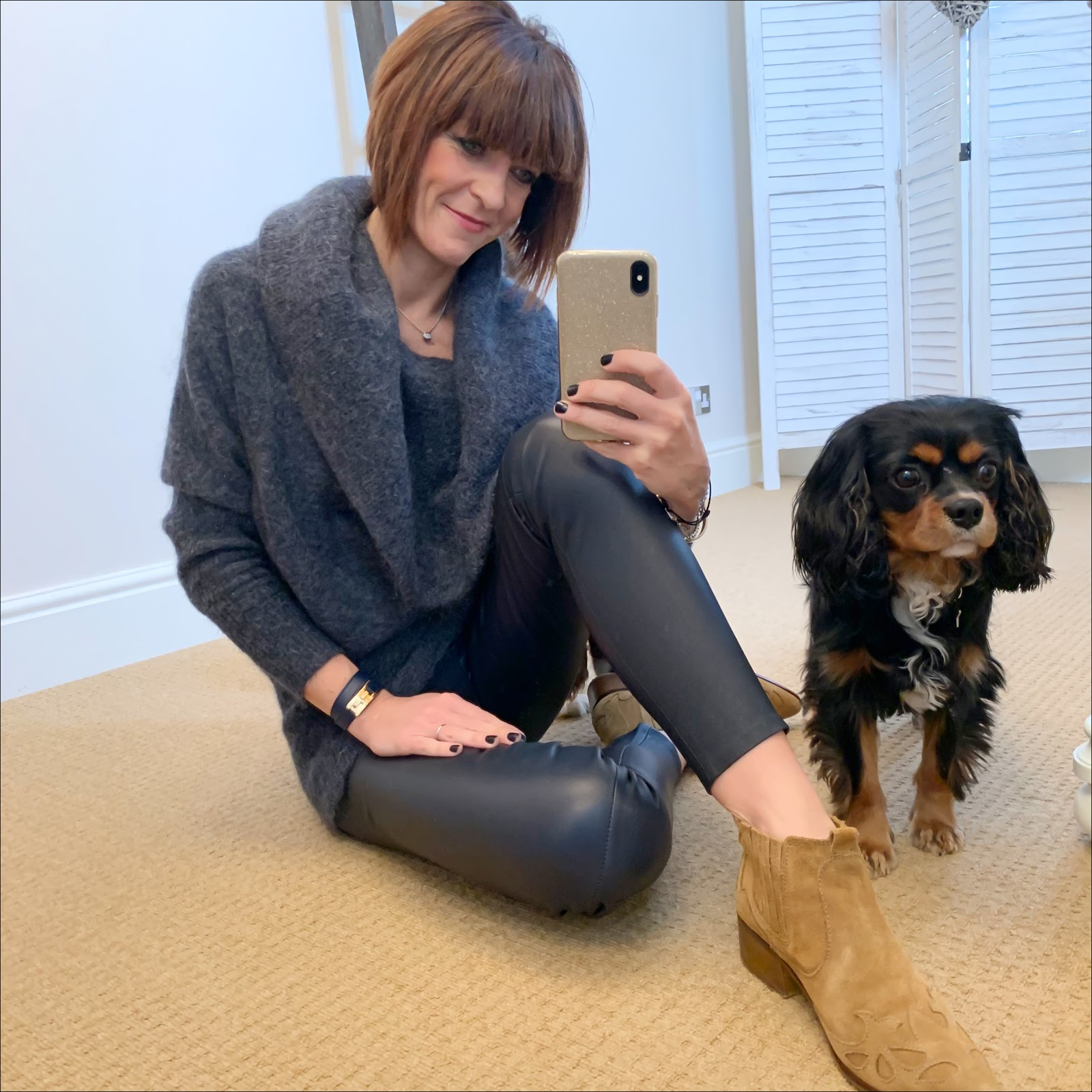 my midlife fashion, acne studios cowl neck jumper, uterque leather leggings, zara western heel suede ankle boots