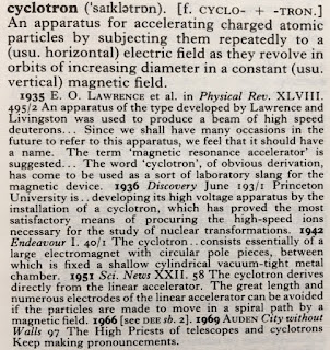 The entry for cyclotron in the Oxford English Dictionary.