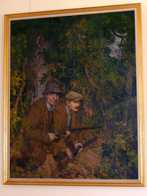 Oil painting by Lucien Porcheron, showing himself and a local farmer out hunting.  Indre et Loire, France. Photographed by Susan Walter. Tour the Loire Valley with a classic car and a private guide.
