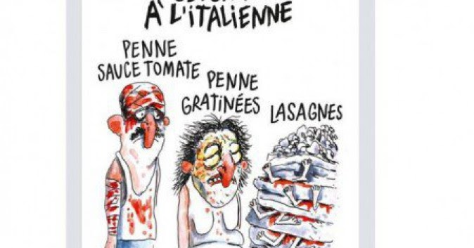 La vignetta di Charlie Hebdo sulle vittime del terremoto in Italia