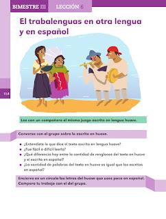 Apoyo Primaria Español 2do grado Bloque 3 lección 6 El trabalenguas en otra lengua y en español