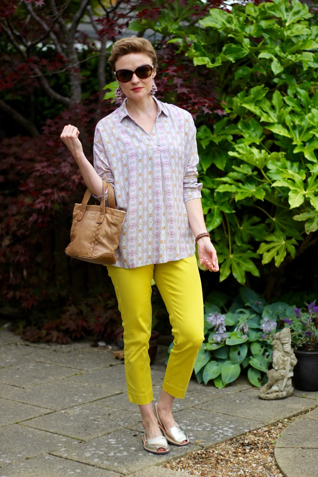 Floaty Silver Pink Shirt and Yellow Trousers | Fake Fabulous