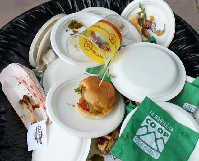 Who threw a burger away?!