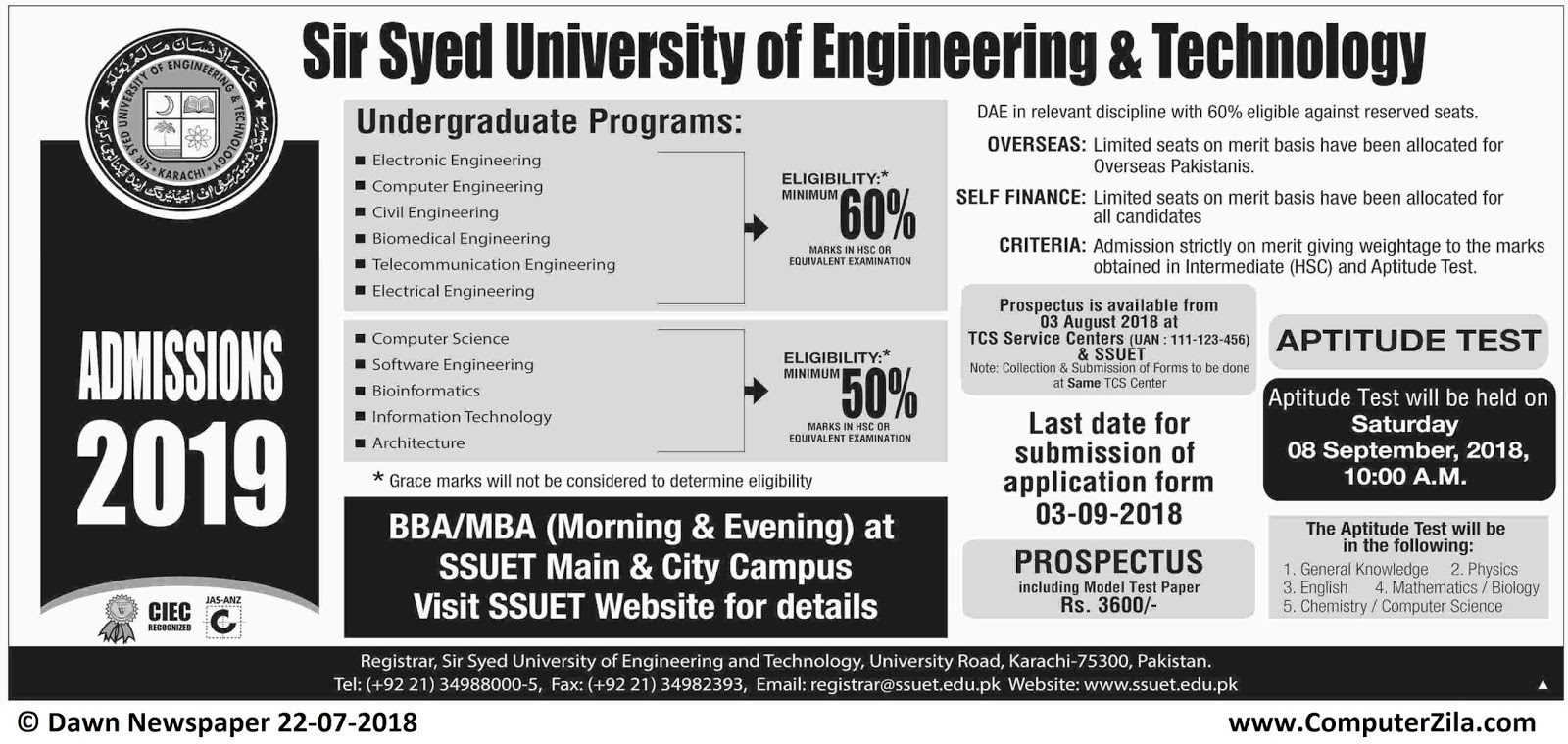 Admissions Open For Fall 2018 At SSUET Karachi Campus