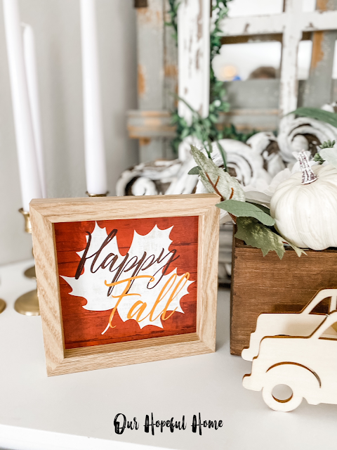 Happy Fall wooden sign with wood pickup truck