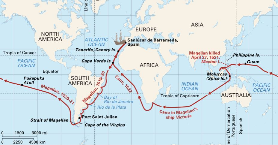 Ferdinand magellan route map.