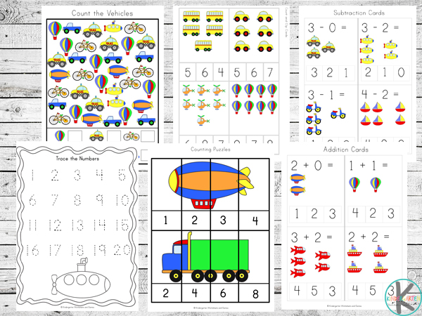 practice counting, addition, subtraction, tracing numbers, skip counting and more with these free printable transportation worksheets