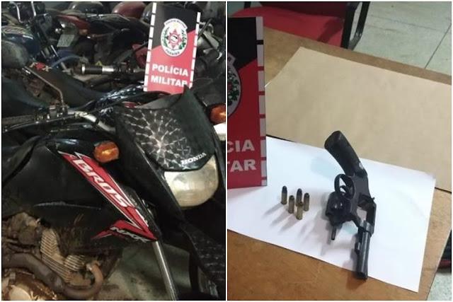 Polícia Militar recupera cinco motocicletas roubadas e apreende arma