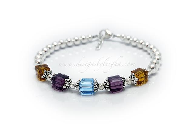 Birthstone Bracelet - November or Topaz, February or Amethyst and March or Aquamarine Swarovski Birthstone Bracelet