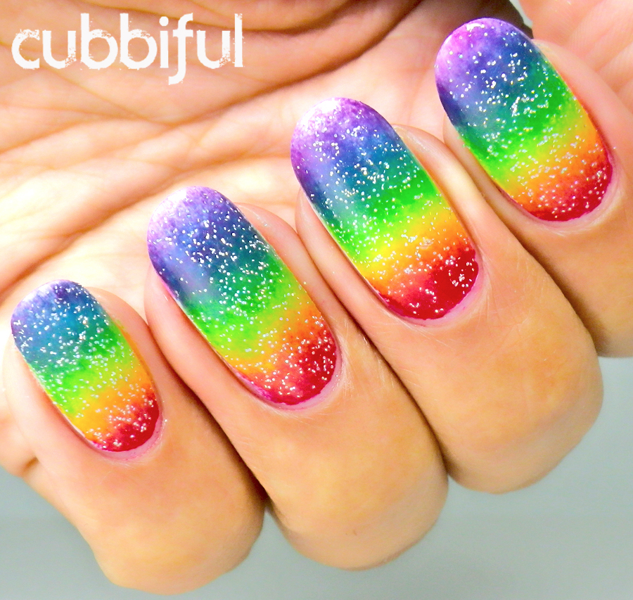 Rainbow nails with glitter