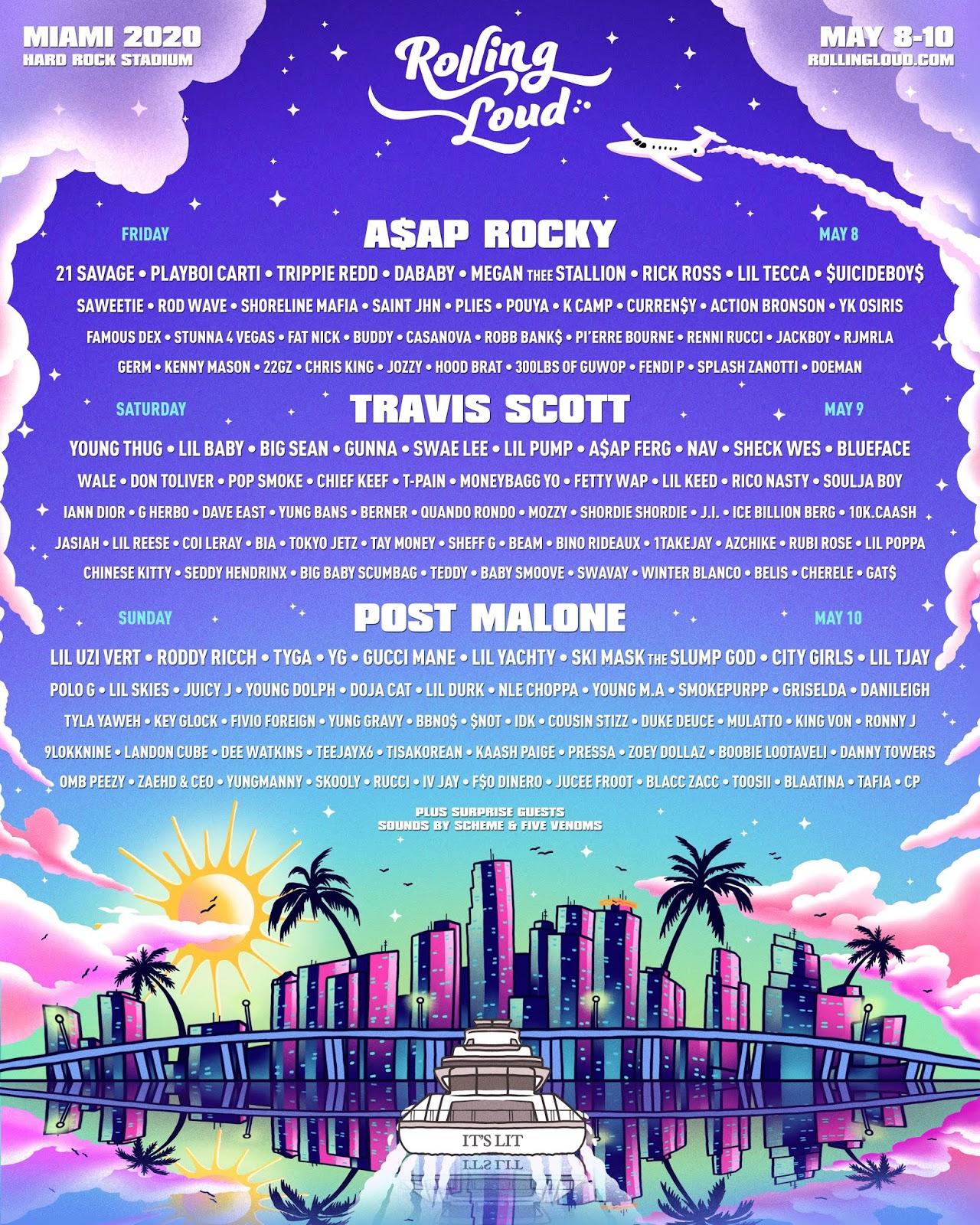 Travis Scott, A$AP Rocky & Post Malone To Headline Rolling Loud Miami 2020