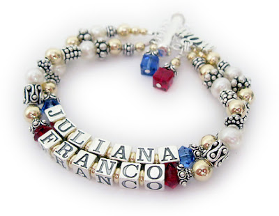 Franco Bracelet with July or Ruby Birthstones and Juliana with September or Sapphire Birthstone Crystals