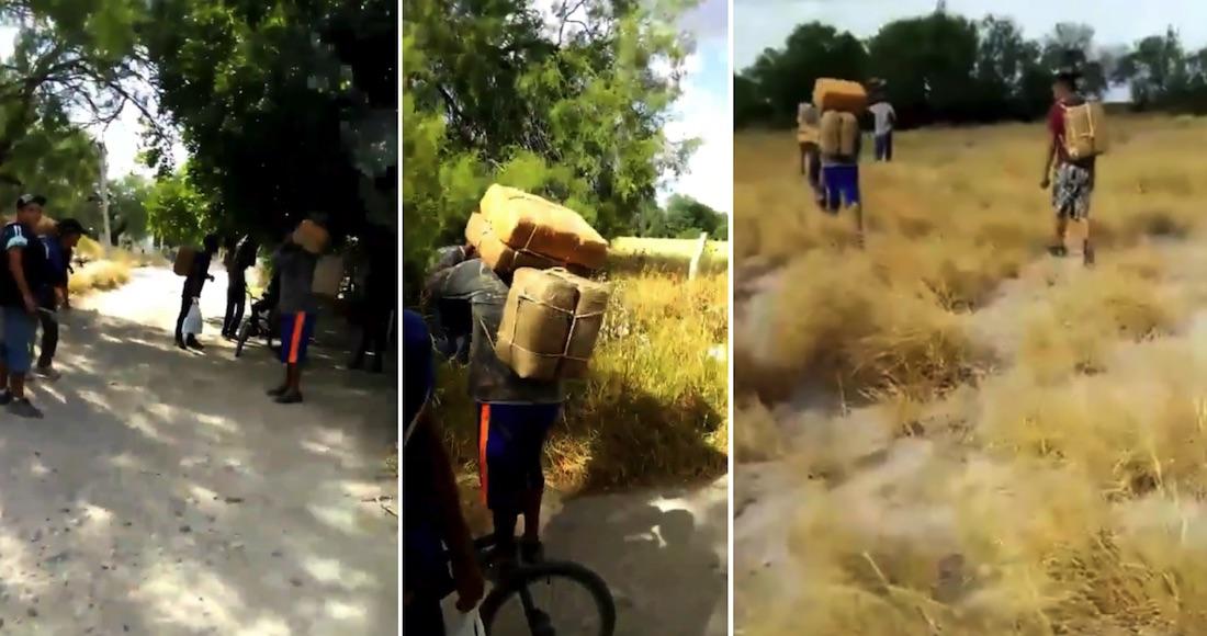 """VIDEO muestran cómo sicarios del Cártel del Golfo y """"Los Metros"""" usan jóvenes como mulas para cruzar  a EU grandes pacas de droga"""