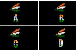 3D Indian Flag Letter Photo Frame : Indian Flag Alphabet Letters