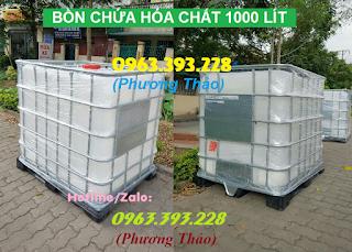 Bán bồn chứa hóa chất 1000L, thùng nhựa 1 khối đựng hóa chất