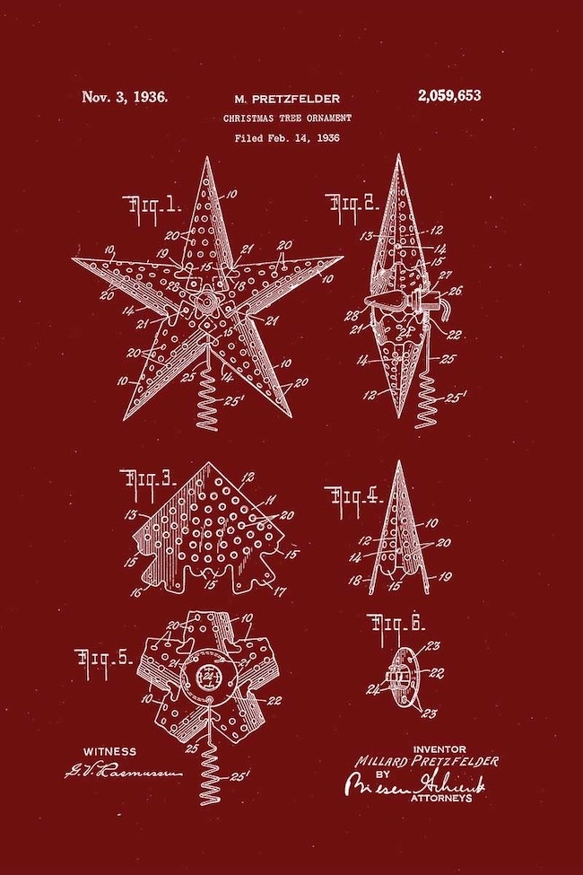 Free Patents for Christmas Inventions of Tree Ornaments by Picture Box Blue featured at Pieced Pastimes