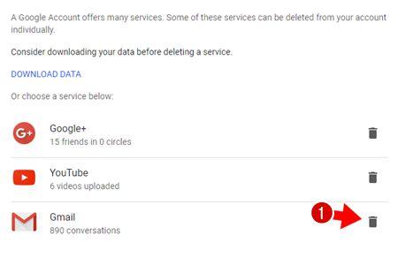 gmail account delete