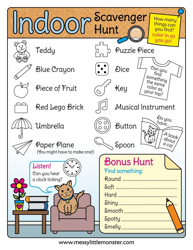 Printable indoor scavenger hunt. Rainy day activities for kids.