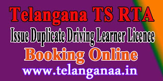 Telangana TS Online Issue Duplicate Driving Learner Licence Booking Online