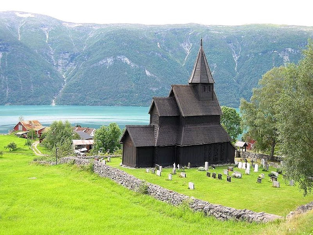 On the shores of the Sognefjord is the Urnes Stave Church, Norway's oldest.