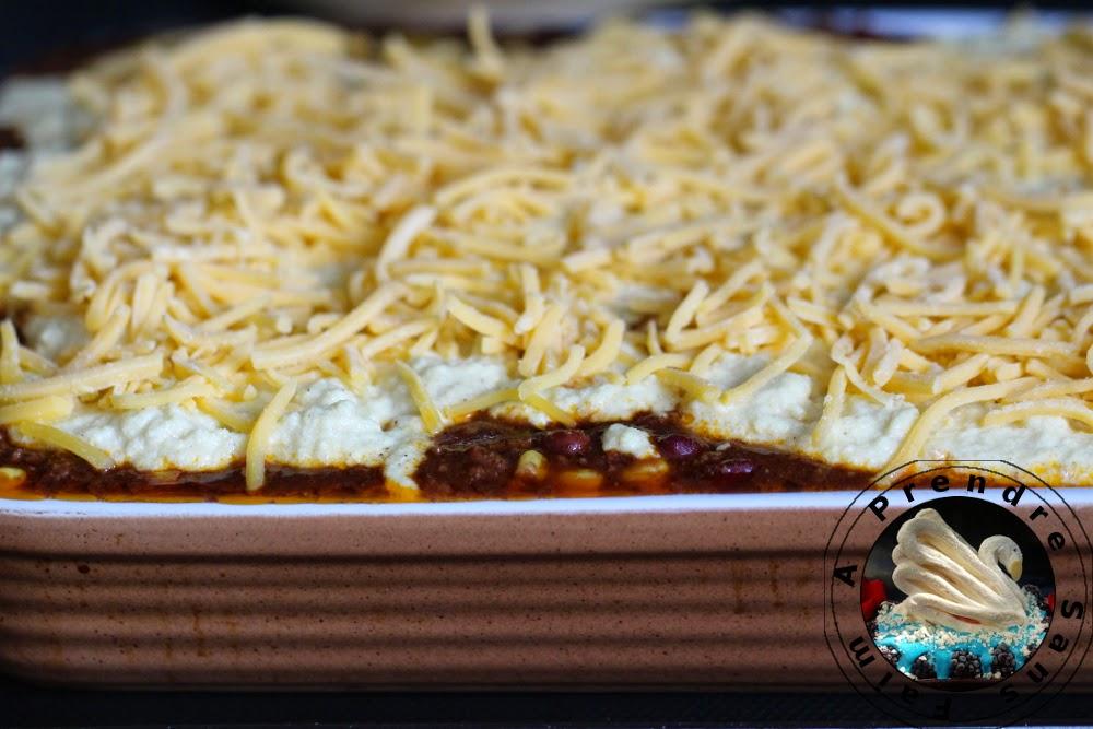 Chili con carne gratiné au pain de maïs