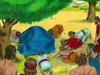 Исус раздра дрехите си и падна по лице на земята пред Господния ковчег