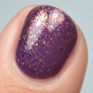 wine crelly nail polish with color shifting flakies
