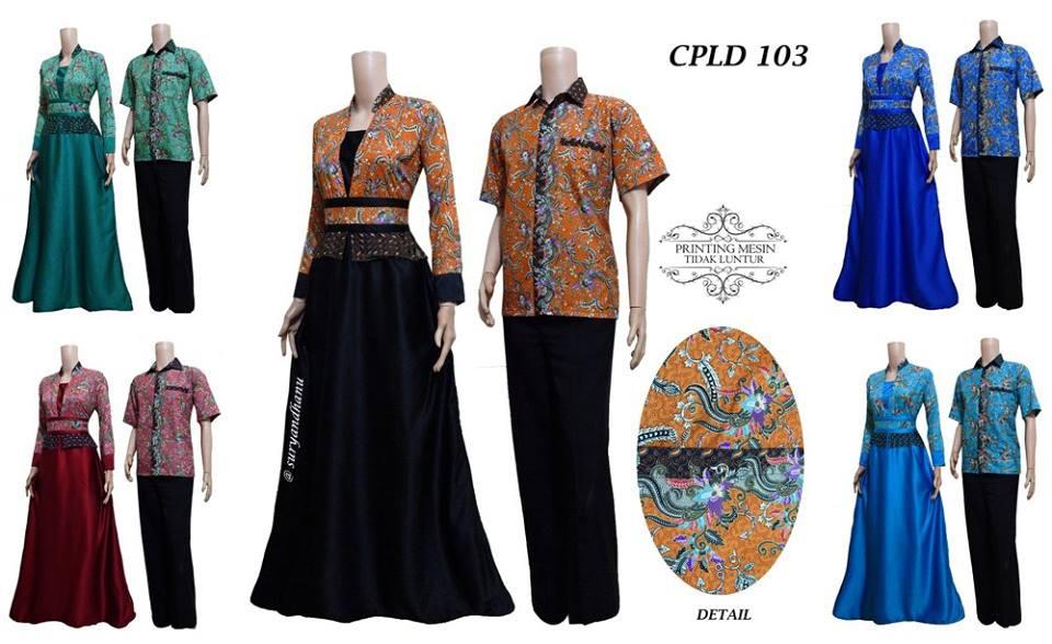Baju Batik Gamis Pasangan Semi Sutera Masa Kini Cpld 103