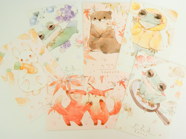 a photo showing six postcards featuring watercolour animal illustrations