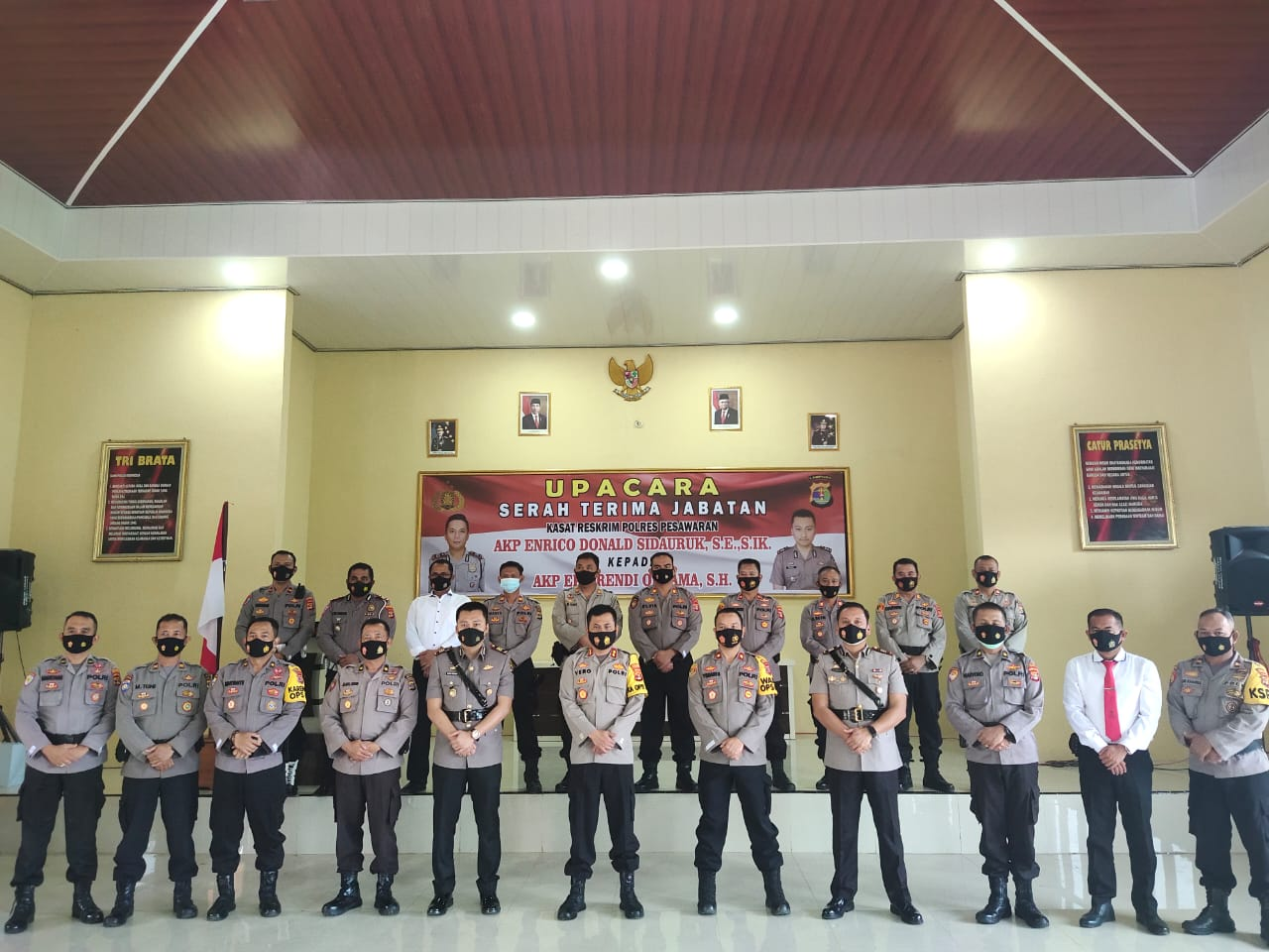 Kepolisian Resor Pesawaran menggelar upacara serah terima jabatan (sertijab) Kasat Reskrim bertempat di Aula Pamor Persada Polres Pesawaran