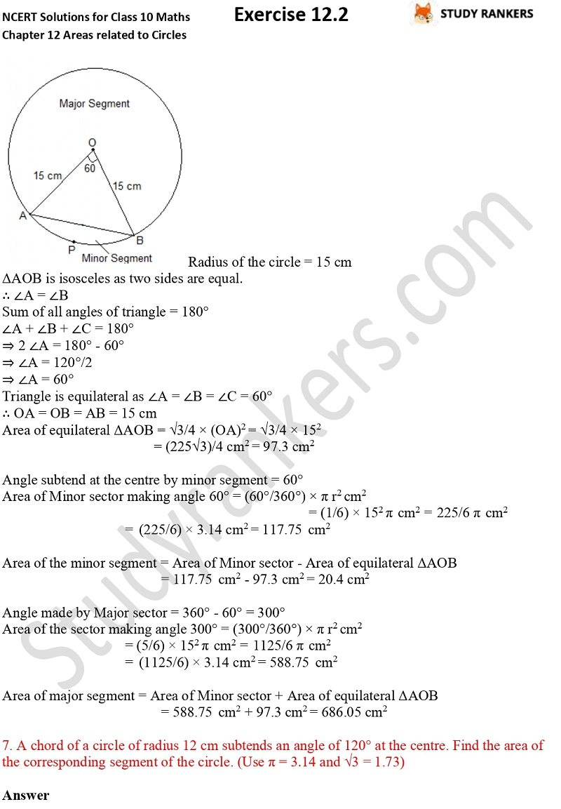 NCERT Solutions for Class 10 Maths Chapter 12 Areas related to Circles Exercise 12.2 Part 5