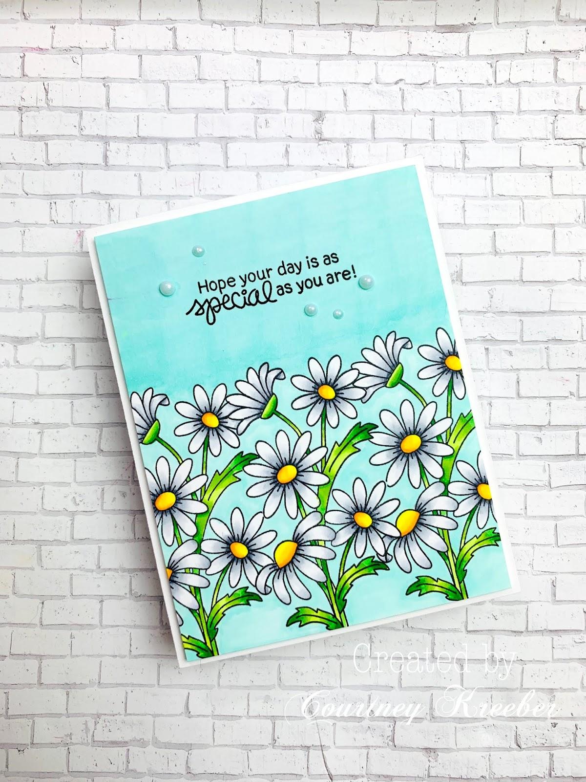 Daisy Card by June Guest Designer Courtney Kreeber | Dainty Daises Stamp Set by Newton's Nook Designs #newtonsnook #handmade