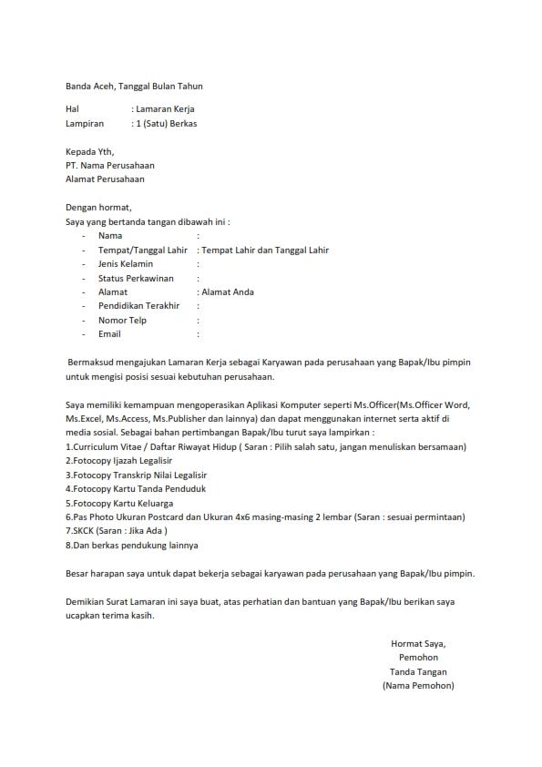 Contoh Surat Lamaran Kerja