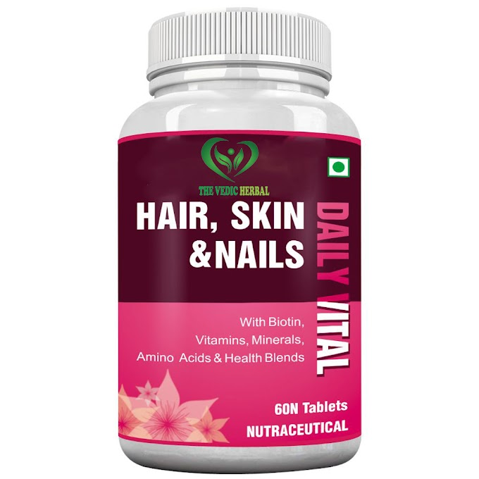 TheVedicHerbal HAIR, SKIN & NAILS COMPLETE MULTIVITAMIN WITH BIOTIN - 60 TABLETS (PACK OF 3)