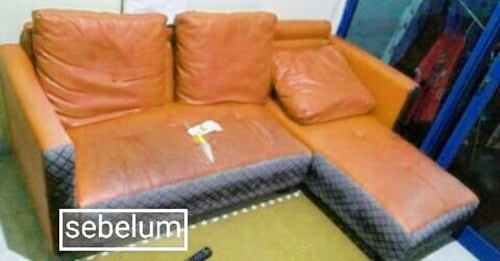 sebelum perbaikan sofa L