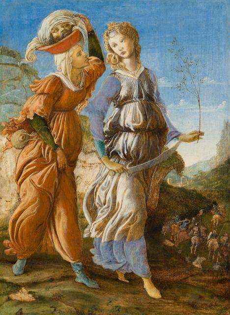 Alessandro Filipepi dit Botticelli (vers 1445 – 1510) et Filippino Lippi (1457 – 1504), Le retour de Judith à Béthulie (recto), 1469-1470, tempera sur bois, 29,2 x 21,6 cm, Cincinnati, Cincinnati Art Museum, Fonds John J. Emery, 1954.463