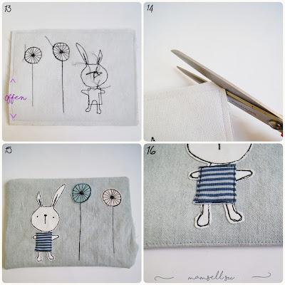 Applikation, easter bunny appliqué, Hase, Kaninchen, mug rugs, Nähanleitung, Tutorial, Vorlage, pdf pattern, Osterhasen Applikation