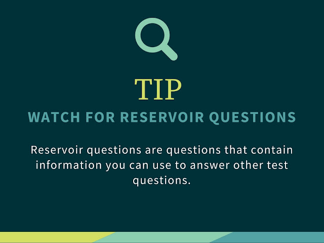 A graphic showing multiple choice tips on reservoir questions