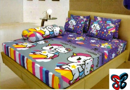 Sprei Lady rose motif Hello kitty unicorn