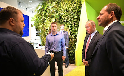 Vladimir Putin visited Moscow office of Yandex IT Company.