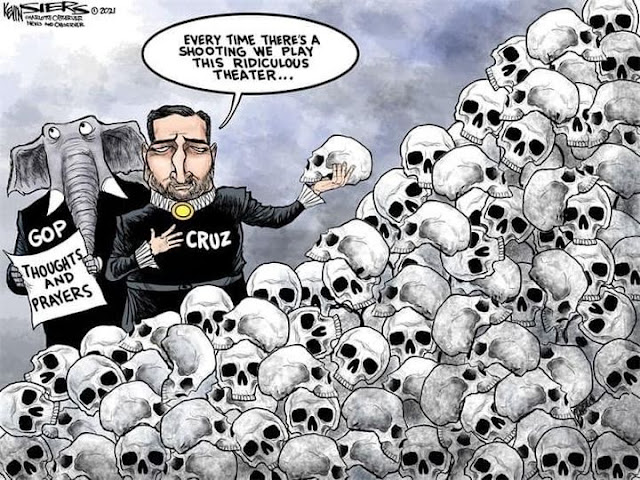 Republican Elephant and Ted Cruz, who is dressed as Hamlet and holding a skull, standing next to a pile of skulls.  Republican Elephant is holding a paper labeled