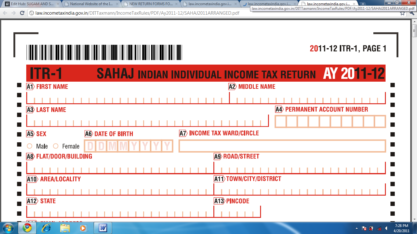 Free Download Income Tax Return Form In Excel Format