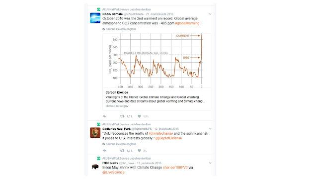 Kuvakaappaus Twitterin ilmastonmuutospäivityksestä