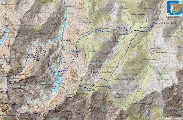 Mapa IGN con la ruta integral al Circo de Gredos desde La Plataforma