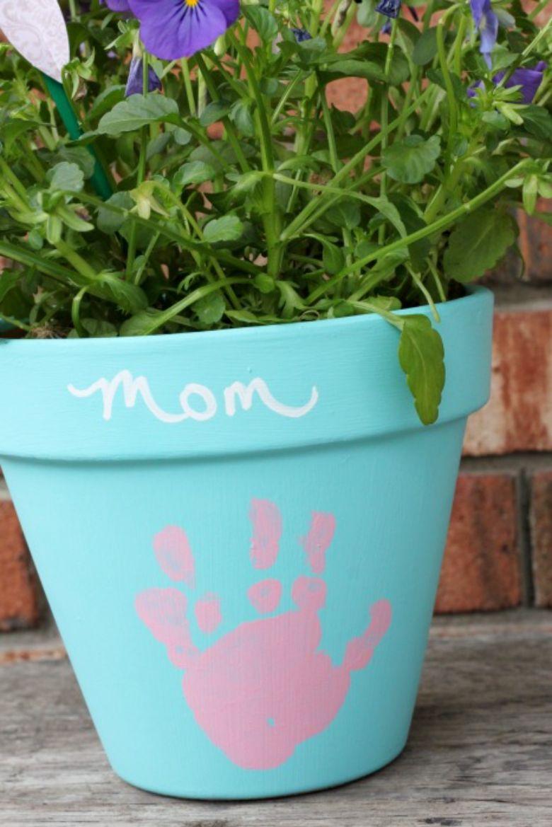 handprint flower pot painting ideas