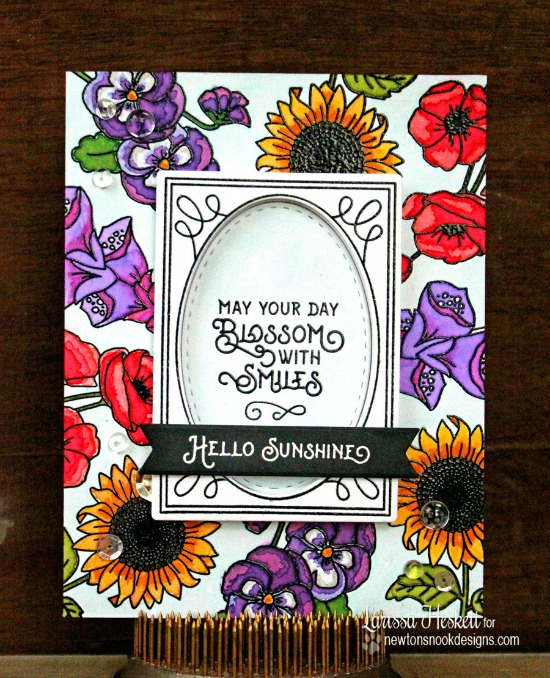 Flower Card by Larissa Heskett | Flower Garden Stamp set by Newton's Nook Designs #newtonsnook