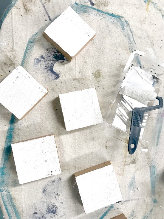 Painted rustic hewn wooden blocks for Autumn