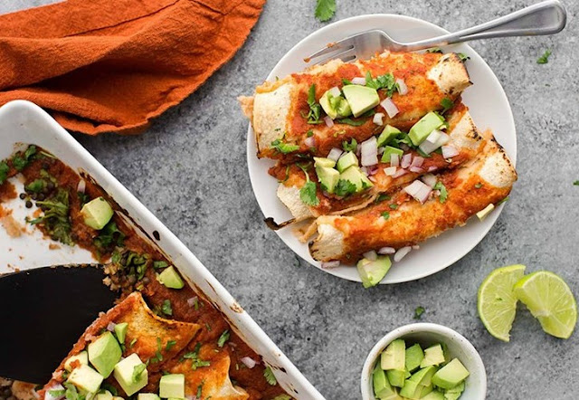 Vegan Enchiladas With Lentils #vegan #meatless