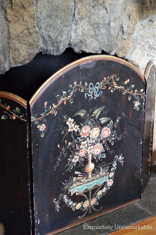 Wooden Painted Fireplace Screen