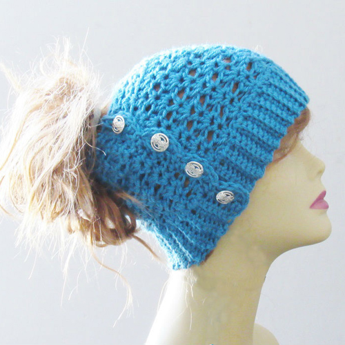 Ponytail or Messy Bun Hat - Free Pattern